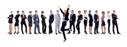 Succesfull business woman and her team. Isolated over a white background Royalty Free Stock Photography
