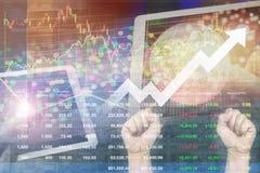 Succesinvestering op effectenbeursindex wereldwijd met levendig o stock foto