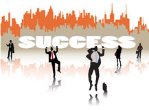 Success. Businessmen and business woman silhouete in front of success word Stock Illustration