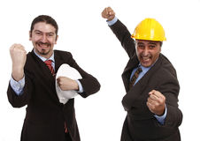 Success. Businessmen teamwork partners happy for their success Stock Images
