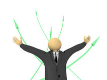 Success. A 3d image of business man and his success Stock Image