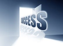 Success. Door to success open. Illustration of open door with big lettering Success in blue colors Stock Illustration