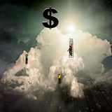 Success. Figures Climb Cloud to Success Royalty Free Stock Images