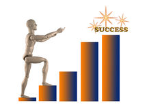 Success 2. Mannequin climbing a chart reaching for the word Success Royalty Free Stock Photo