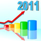 Success in 2011. Successfull business color diagramme with reflection,  illustration Stock Photos