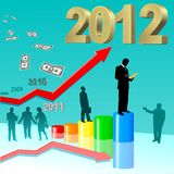 Success in 2012. Successfull business color diagramme with reflection, illustration royalty free illustration