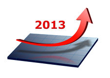 Success 2013. Arrow shows success and growth for 2013 vector illustration
