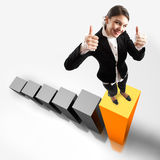 SUCCESS!!!. Young attractive business woman on the highest bar of a 3d graphic Stock Image