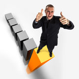 SUCCESS!!!. Young attractive businessman on the highest bar of a 3d graphic Royalty Free Stock Photo