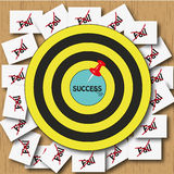Success. Ful in game on dart board Stock Images