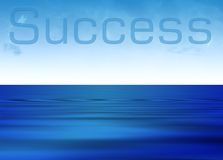 Success. In clouds with blue ocean rippling Royalty Free Stock Image