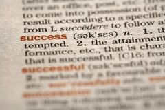 Success. Macro of the word in a dictionary Stock Photos