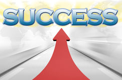 Success. An illustration of success concept with a big red arrow Royalty Free Stock Image