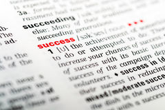 Success. Dictionary Definition Of The Word Success Highlighted In Red Stock Photography