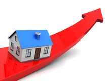 Success. House with blue roof on red arrow over white background Royalty Free Stock Image