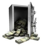Success. Open safe with dollars  on white background Royalty Free Stock Photos