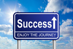Success. Road sign on sunny cloudy sky, enjoy the journey Stock Images
