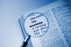 Success. Definition of the word - success, close-up shot from a dictionary Stock Images
