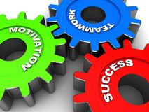 Success. Industrial gears with words motivation, success, teamwork Stock Photography