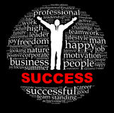 Success. Info-text graphics and arrangement concept on black background Stock Images
