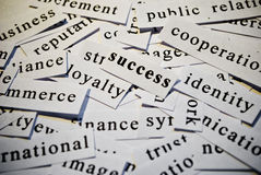 Success. Cut-out of words related with business activity stock photos