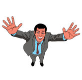 Success. Triumphant man with the arms up high Vector Illustration