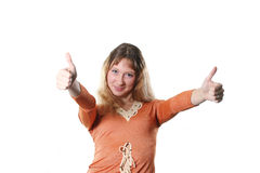 Success. The young woman is pleased to the success Royalty Free Stock Photos