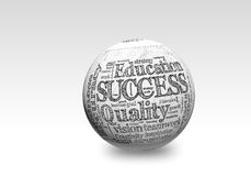 Success 3d. Business SUCCESS, in a word cloud designed in a 3D sphere with shadow Stock Image