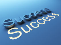 Success. 3D text on blue background. word Royalty Free Stock Photography