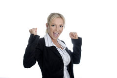 Success. Young business woman with her arms raised due to joy. Symbol for success Stock Photo
