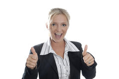 Success. Young business woman happy and emotional due to success Royalty Free Stock Photo