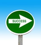 Success. Green traffic sign with text success Stock Photo