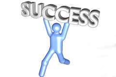 Success. A 3d graphic figure lifting the word success vector illustration