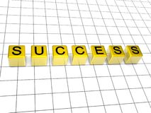Success. 3d golden boxes with success letter Royalty Free Stock Image