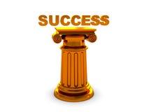 Success. Abstract 3d illustration of success text on golden column Stock Photos