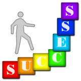 Success. Seven varicolored squares with letters and  schematic person Royalty Free Stock Images