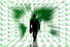 Success abstract background with earth and business man. Stock Photo