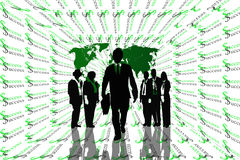 Success abstract background with world map and teamwork on silhouettes. Royalty Free Stock Images