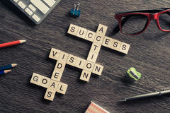 Success achieving business keywords collected of wooden cubes in Royalty Free Stock Photography