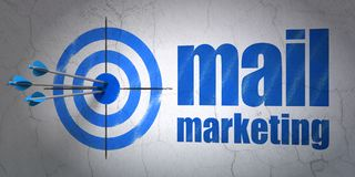 Advertising concept: target and Mail Marketing on wall background. Success advertising concept: arrows hitting the center of target, Blue Mail Marketing on wall Stock Photo