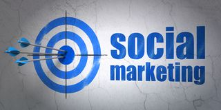 Advertising concept: target and Social Marketing on wall background. Success advertising concept: arrows hitting the center of target, Blue Social Marketing on Stock Photos