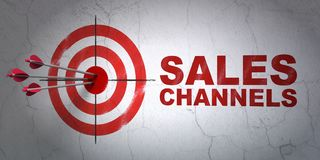 Advertising concept: target and Sales Channels on wall background Stock Photos