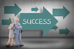 Success against blue arrows pointing Royalty Free Stock Images
