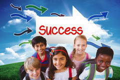 Success against green hill under blue sky Royalty Free Stock Images