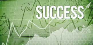 Success against stocks and shares on black background Stock Images