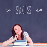 Success against student thinking in classroom Royalty Free Stock Photos