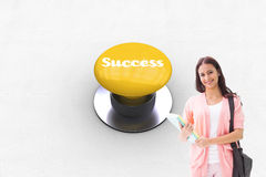 Success against yellow push button Stock Photos