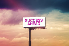 Success Ahead Motivational Message on Outdoor Advertsing Billboa Royalty Free Stock Image