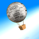 Success Air balloon. 3d image of a paper air balloon on the sea Royalty Free Stock Photography