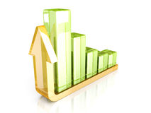 Success arrow and bar chart graph growing up. 3d render illustration Royalty Free Stock Photo
